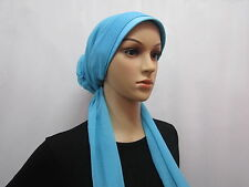 New Rose Flower Hijab Scarf Cap Bonnet Chemo Hat Turban Blue