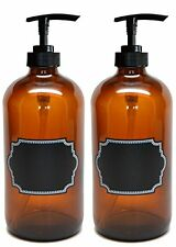 NEW Firefly Craft Glass Pump Bottles with Chalkboard Labels, 16 ounces each