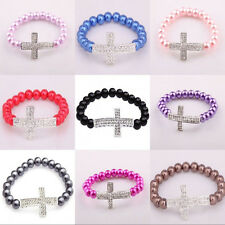 1 Piece Womens Smooth Pearl Chain Crystal Cross Bangle Jewelry Wedding Bracelet