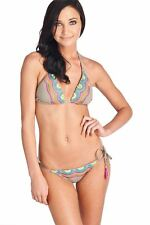 NEW TRINA TURK WOMEN'S TIE SIDE HIPSTER BIKINI BOTTOM EMBROIDERED IN TAUPE