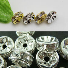 100×Wholesale Silver/Gold Plated Crystal Rondelle Spacer Beads 6mm/ 8mm /10mm