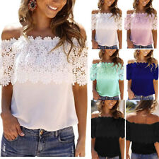 New Womens Off The Shoulder Chiffon Blouse Lace T-Shirt Summer Casual Tank Tops