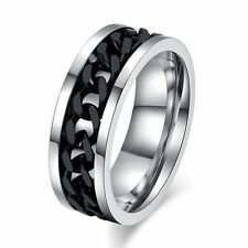 Fashion Jewelry Silver Gold Black Stainless Steel Ring Band Titanium 8mm