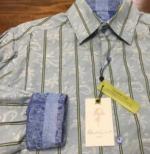 Robert Graham Men's Blue Jacquard Paisley Classic-Fit Button Down Shirt Sz Large