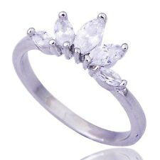 Fashion Womens Girls Cubic Zirconia Crown Ring White Gold Filled Size 6 7 8.25