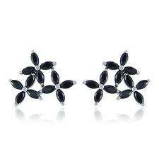 Womens White gold filled Cute Flower Rainbow lucky crystal stud earrings Gift