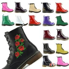 Ladies ankle retro combat boot women's lace funky vintage gothic ankle boots