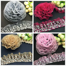1/3/5/20 Yards 40mm 2-Layer Lace Leopard garment Gathered Pleated Trim 4 colors