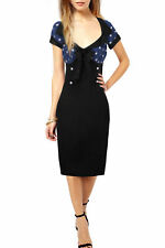 New Vintage Chic 1950's Style Polka Dot Black Pencil Wiggle Dress Size 8-22 BN