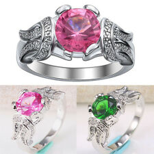 925 Silver 1.2CT Emerald Pink Sapphire Gemstone Size 7-9 Wedding Ring Engagement