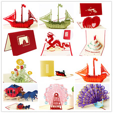 3D Pop Up Greeting Card Happy Birthday Merry Christmas Wedding Valentines Gift