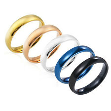 4mm Wide Titanium Stainless Steel Polished Ring Women Man Wedding Prom Size 5-12