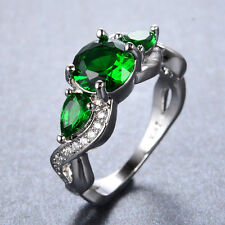 Infinity Green Emerald Wedding Band Ring 10KT White Gold Filled Jewelry Size6-11