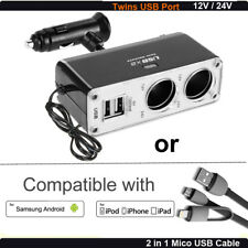 12v 2 Way Car Charger Cigarette Power Socket Adapter + 2 in 1 Mico USB Cable US