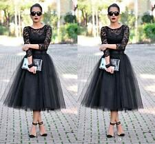 Tea Length Evening Dresses 3/4 Lace Sleeve Black Evening Formal Prom Gowns HD233