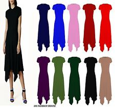 Womens  Cap Sleeve Long Hanky Hem Flared Ladies Swing Dress Top Plus Size