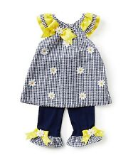 Rare Editions Baby Girls Navy White Gingham Check Daisy 2 Piece Summer Set
