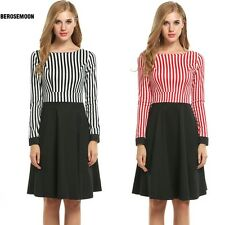 Women Long Sleeve Striped Patchwork Fit and Flare Swing Dress B0N02