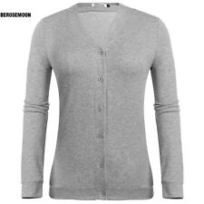 New Women Casual V-Neck Long Sleeve Solid Button Down Cardigan B0N01