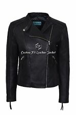 New Ladies Jessica Black Washed High Quality Real Leather Biker Style Jacket