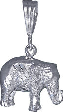 Sterling Silver Elephant Charm Pendant Necklace Diamond Cut Finish with Chain
