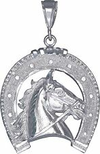 Sterling Silver Horseshoe Pendant Necklace Diamond Cut Finish 2.2 Inch 9 Grams