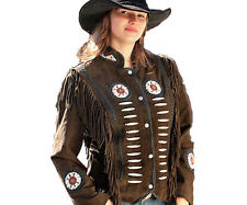 Women's Fringed Beaded Suede Western Indian Jacket Best Quality in brown/black