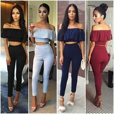 Womens 2Pcs Off Shoulder Ruffled Crop Top Long Pants Trousers Jumpsuit Clubwear