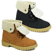 WOMENS LADIES WINTER WARM LACE UP COLLAR FUR LINED ANKLE BOOTS SHOES SIZE 3-8