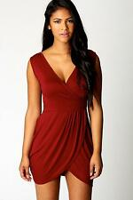 NEW Boohoo Womens Dellilah Wrap Over Detail Tulip Shape Dress in Polyester