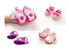 Newborn Girls Handmade Crib Crochet Knit Shoes Baby  Soft Sole