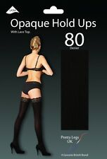 BLACK SOFT OPAQUE LUXURY 80 DENIER LACE TOP HOLD UP STOCKINGS BY PRETTY LEGS UK