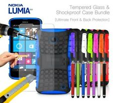 Nokia Lumia 630 Shockproof Armour Case Cover, Stylus & Tempered GLASS