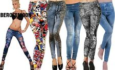 New Women's Denim Look Ripped Faux Jean Leggings B0N01