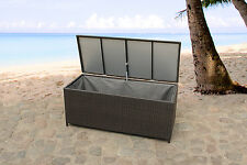 CUSHION BOX WEATHERPROOF IN AND OUTDOOR WICKER STORAGE 130 CM BROWN