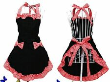 Fashion Women Prince Apron Cooking Kitchen Bib Dress with Pocket Gift Black/Red