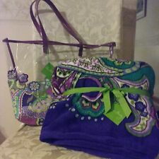 VERA BRADLEY CLEARLY COLORFUL TOTE/THROW BLANKET Heather
