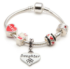 LIBERTY CHARMS Daughter RED HELLO KITTY Silver Plated CHARM BEAD BRACELET 16cm
