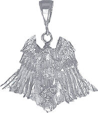 Sterling Silver Eagle on Skull Charm Pendant Necklace with Diamond Cut Finish