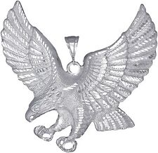 """Sterling Silver Flying Eagle Pendant Necklace with Diamond Cut Finish. Huge 3.5"""""""