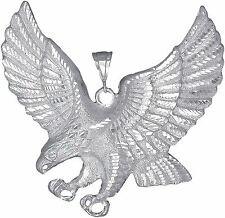 Sterling Silver Flying Eagle Pendant Necklace with Diamond Cut Finish. Huge 3.5""