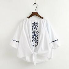 New Womens Floral Embroidered Half Sleeve Pullover Blouse Tops Shirt 3 Colors SM
