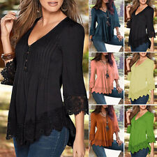 Women Ladies V-Neck Casual Long Sleeve Lace Shirts Loose Blouses T Shirt Tops