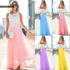 New Sexy Women Cap Sleeve Maxi Dress Floral Hollow Patchwork Party Slim B0N01