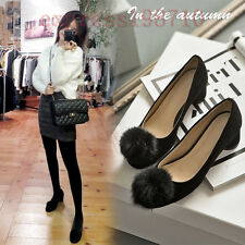 Chic Womens Ladys Sweet Pom Pom Suede ShoesCylinder Mid Heel Casual Pump New
