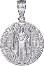 Sterling Silver Saint Benedict Medal Reversible Charm Pendant Necklace 1 Inch