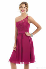 Short Bridesmaid Dresses Purple One Shoulder Cocktail Party Evening Gowns HD249