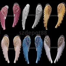 Women Crystal Rhinestone Large Angel Wing Drop Dangle Earrings Ear Studs Jewelry