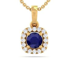 Blue Sapphire EF VVS Diamonds Cushion Gemstone Pendant Women 10K Yellow Gold