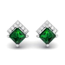 Green Emerald EF VVS Diamonds Princess Gemstone Stud Earrings 18K White Gold